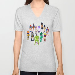 Superhero Butts - Power Couple on Violet Unisex V-Neck
