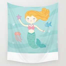 Mermaid Swim Wall Tapestry