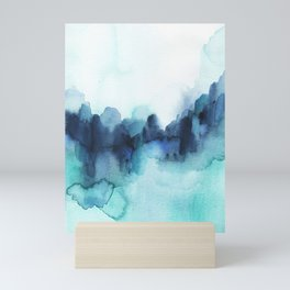 Wonderful blues Abstract watercolor Mini Art Print