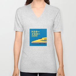 Doctor Yellow Class 923 Shinkansen Bullet Train Side Profile Japanese Text Blue Unisex V-Neck