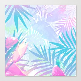 Pastel Rainbow Tropical Paradise Design Canvas Print