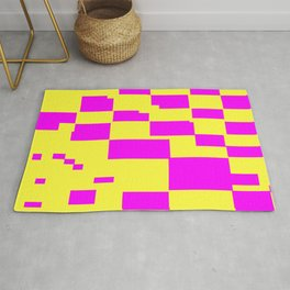 Egg Yellow-Fuchsia City Scapes Abstract Rug