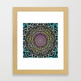 DETAILED CHARCOAL MANDALA (BLACK AND WHITE) WITH COLOR (PINK YELLOW TEAL) Framed Art Print