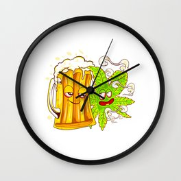 Happy Couple Wasted Funny Beer Mug and Cannabis Leaf Wall Clock