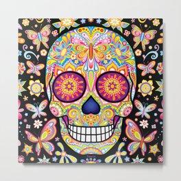 Sugar Skull Art (Mariposa) Metal Print