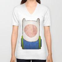 finn V-neck T-shirts featuring finn by MAKE ME SOME ART