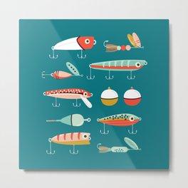Fishing Lures Blue Metal Print