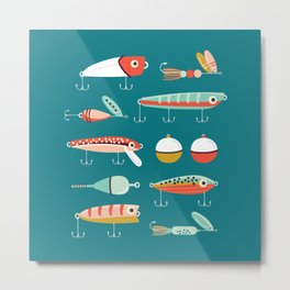 Fishing Lures Blue Metal Print