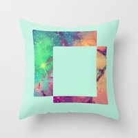 decal Throw Pillows featuring Space Decal by artii