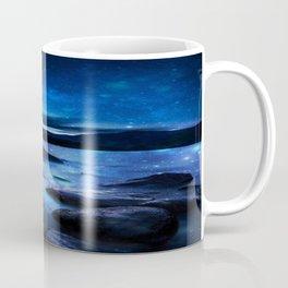 Magical Mountain Lake Dark Blue Coffee Mug