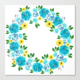 A Floral watercolor wreath with blue and yellow flowers Canvas Print