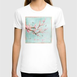 Its All Over Again - Romantic Spring Cherry Blossom Butterfly Illustration on Teal Watercolor T-shirt