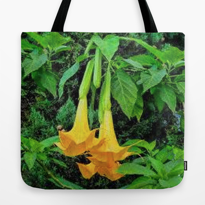 Tropical Golden Angel Trumpet Flowers Tote Bag By Sharlesart