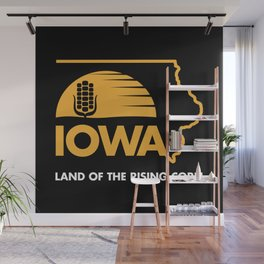 Iowa: Land of the Rising Corn - Black and Gold Edition Wall Mural