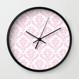 Venetian Damask, Ornaments, Swirls - Pink White Wall Clock