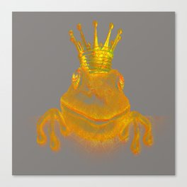Simple Golden King Frog on Grey Day Canvas Print