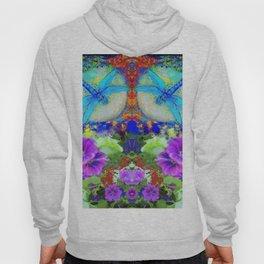 "BLUE ""ZINGER"" DRAGONFLIES  & PURPLE FLOWERS ART Hoody"