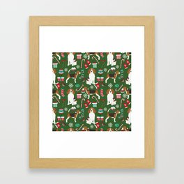 Beagle christmas pet friendly dog breed pattern present wrapping paper for dog lover Framed Art Print