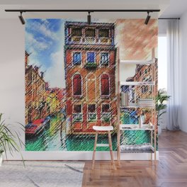 Canals of Venice, Italy Watercolor by Jéanpaul Ferro Wall Mural