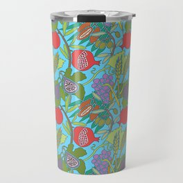 Seven Species Botanical Fruit and Grain with Aqua Background Travel Mug
