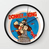 donkey kong Wall Clocks featuring Donkey King Kong by Vickn