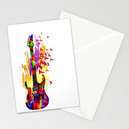Colorful music instruments painting, abstract acoustic guitar with flying birds. Pop-art, digital. Stationery Cards