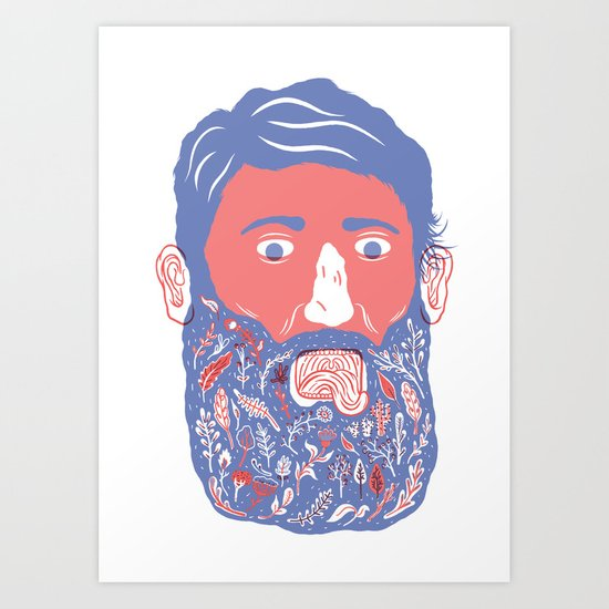 Flowers in Beard Art Print