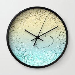 Sparkling Lemon Twist Beach Glitter Heart #1 #shiny #decor #art #society6 Wall Clock