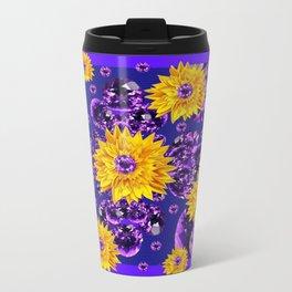Glittering Amethyst Gems Jeweled Sunflower Rain Travel Mug