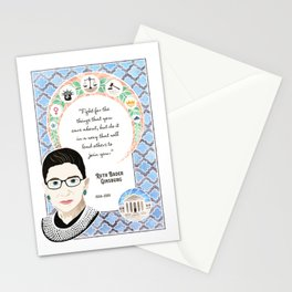 Ruth Bader Ginsburg Supreme Court Justice Tribute Watercolor Art Nouveau Stationery Cards
