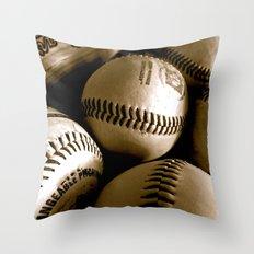 Baseball Days in B&W Throw Pillow