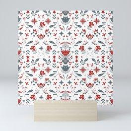 Scandinavian Folk Flower Pattern Mini Art Print