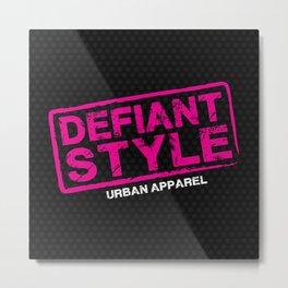 Defiant Style Logo [Pink/White] Metal Print