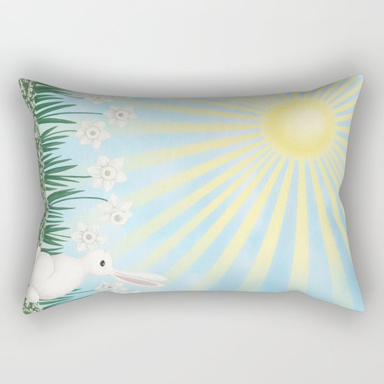 sunshine bunny with daffodils Rectangular Pillow