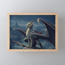 Stunning Amazing Warrior Riding Winged Fairytale Reptile Monster UHD Framed Mini Art Print