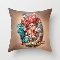 hair Throw Pillows featuring SIREN by Tim Shumate