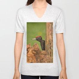 Black woodpecker. Unisex V-Neck