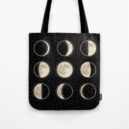 shiny moon phases on black / with stars Tote Bag