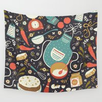 cake Wall Tapestries featuring Carrot Cake by Anna Deegan