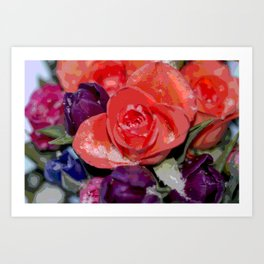 Snow settling on a top of Bouquet of flowers Art Print