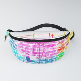 brick building with colorful painting abstract in pink blue yellow green red Fanny Pack