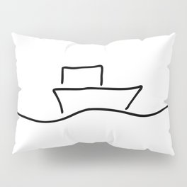 boat or ship on trip on the sea Pillow Sham