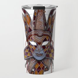 Male Venetian Jester Mask | Watercolor and Colored Pencil  Travel Mug