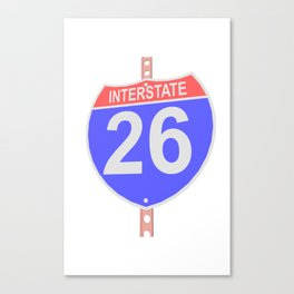 Interstate highway 26 road sign Canvas Print