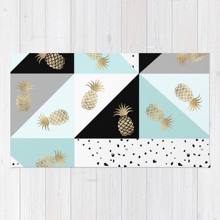 Pastel color block watercolor dots faux gold pineapple Rug