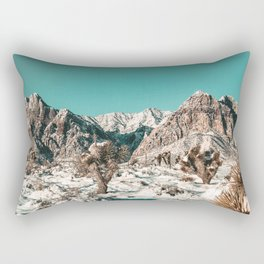 Vintage Cactus Snow & Mountains // Desert Landscape Photograph in the Mojave at Winter Red Rocks Rectangular Pillow