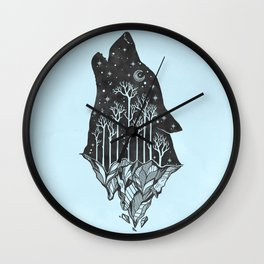 Adventure Wolf - Nature Mountains Wolves Howling Design Black on Turquoise Blue Wall Clock