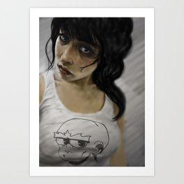 Mujer con musculosa Art Print
