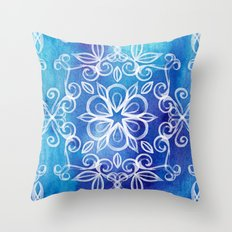 White Floral Painted Pattern on Blue Watercolor Throw Pillow