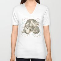 play V-neck T-shirts featuring cats by Laura Graves